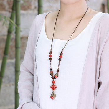 Women Retro Ethnic Statement Necklace