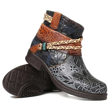 Women Genuine Leather Woven Rope Embossed  Ankle Boots