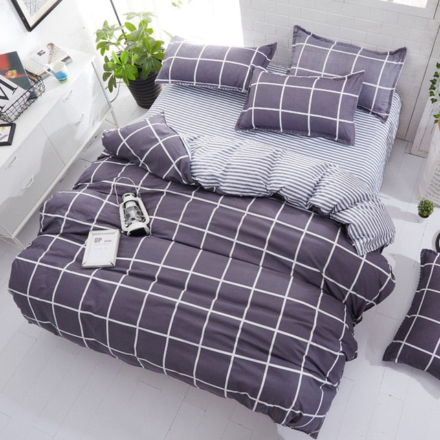 Geometric Plaid Duvet Cover Bedding Set