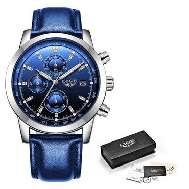 Men Analog Quartz Wristwatches Waterproof Chronograph Premium Leather Business Watches