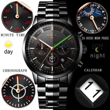 Men Fashion Luxury Waterproof Stainless Steel Quartz Watches