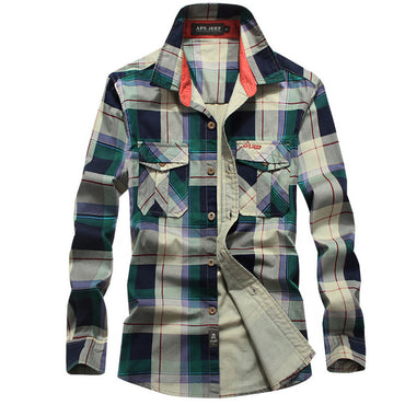 Men Long Sleeve Loose Cotton Plaid Shirt