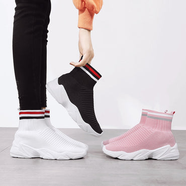 Women Socks Sneakers Light High Top Fashion Trend Shoes