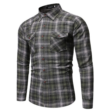 Men Fashion Wild Plaid Shirt