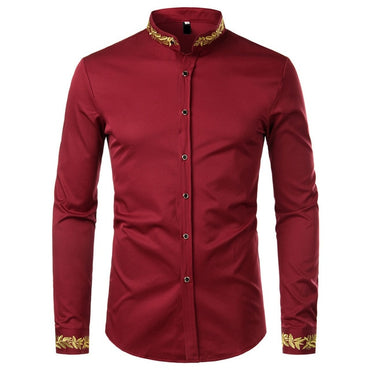 Black Gold Embroidery Men Dress Shirt
