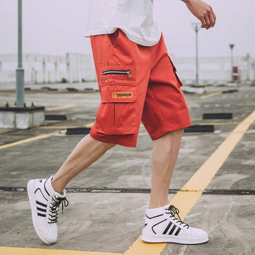 Men Casual Streetwear Cotton Zipper Pockets Shorts