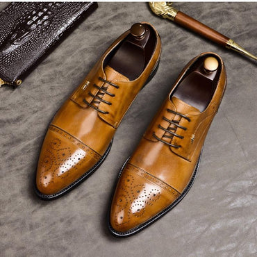 Men Genuine Leather Italian Designer Handmade Oxfords Formal Shoes
