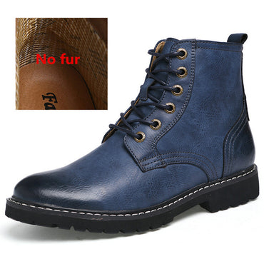 Men Fashion Pointed Toe Leather Mid-Calf Boots