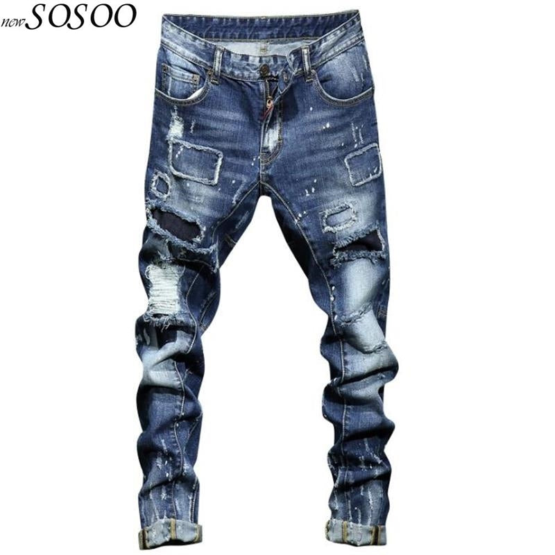 Italian Designer Men Street Style Fashion Ripped Jeans