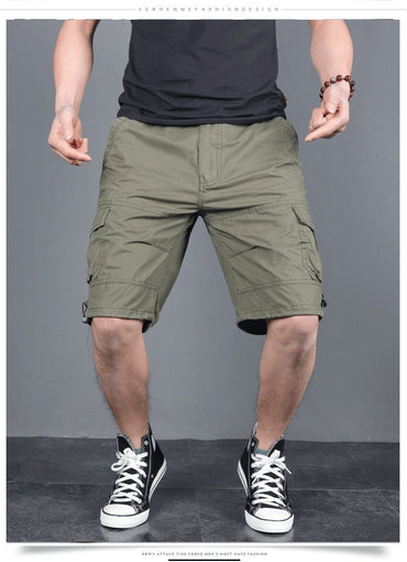 Men Cotton Loose Multi-Pocket Cargo Shorts