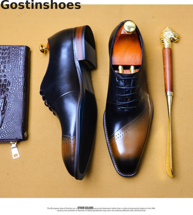 Men Luxury Fashion Cow Leather Handmade Dress Shoes