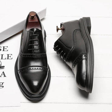 Men Fashion British Style Lace Up Leather Oxfords Shoes