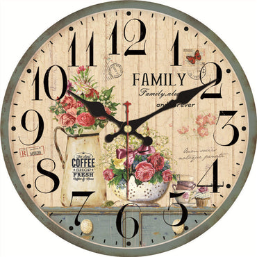 Shabby Chic Flower Potted Plant Vintage Decorative Wall Clock