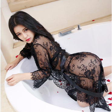 Women Sexy Lace Babydoll Nightgown Set