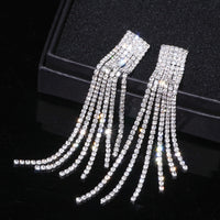 Women Luxury Rhinestone Crystal Long Tassel Earrings