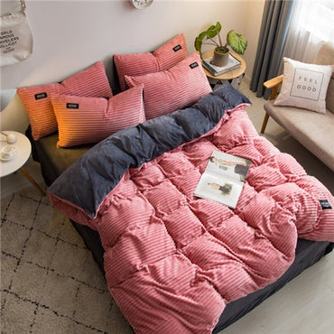 New Magic Velvet Fleece Stripe Linen Bedding Set
