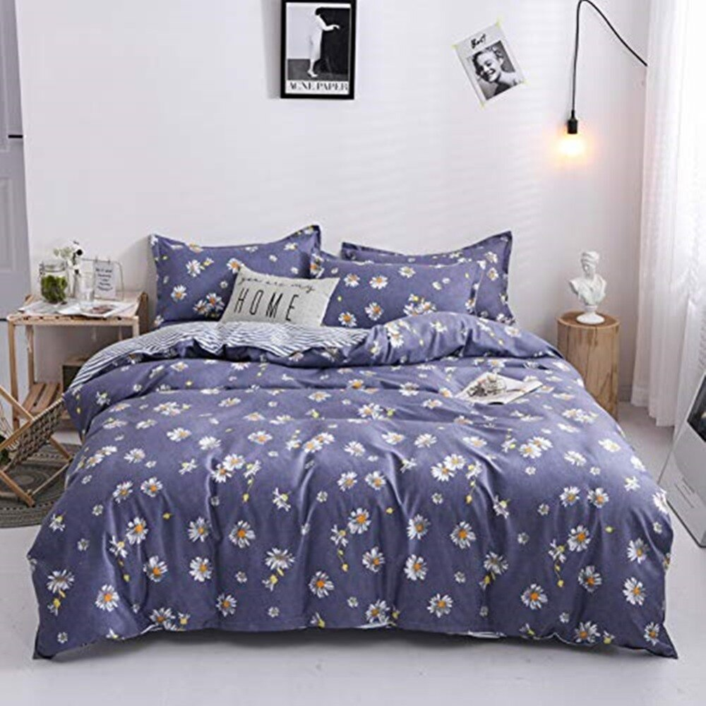 Luxury Flora Plaid Reversible Linen Bedding Set