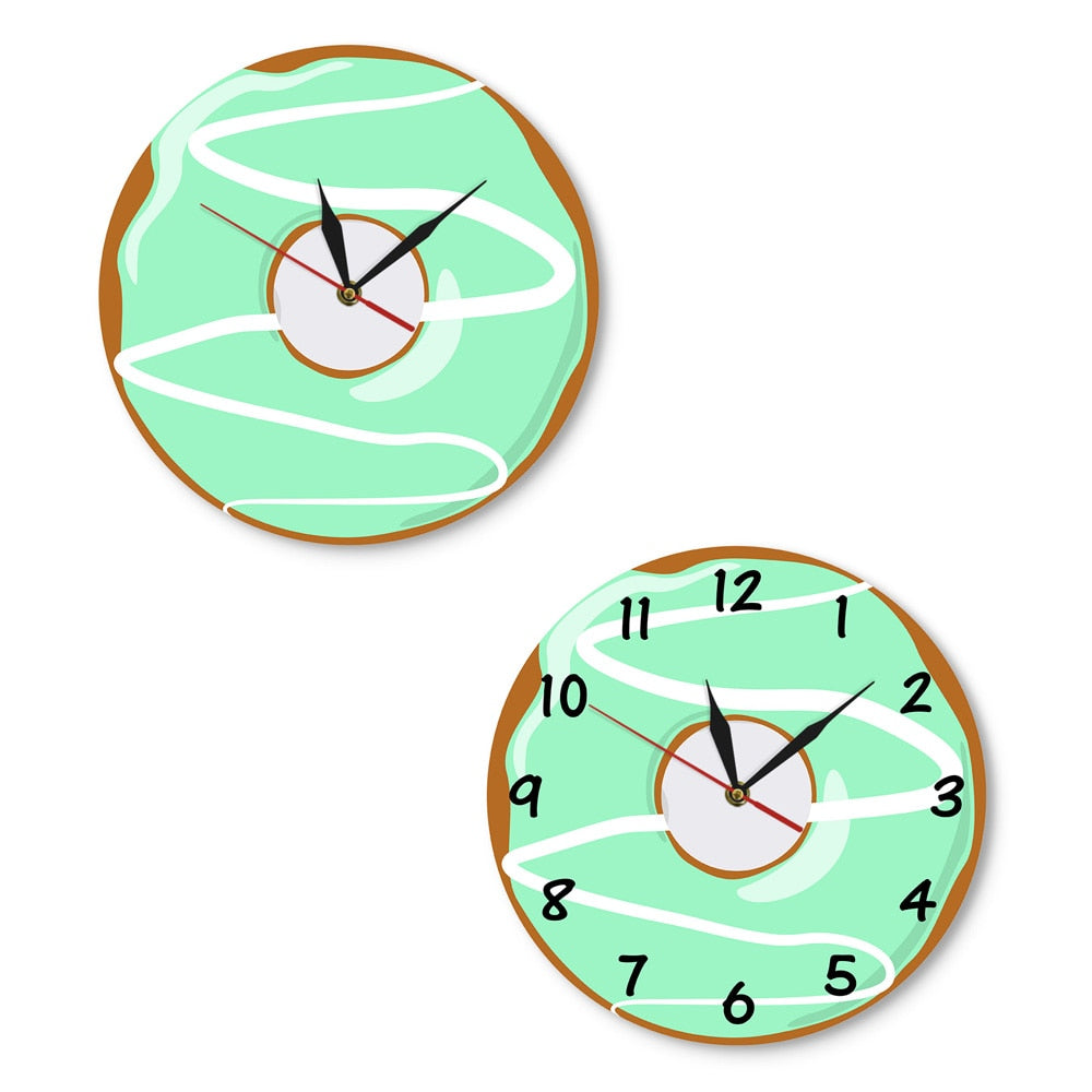 Colorful Printed Doughnut Decorative Wall Clock