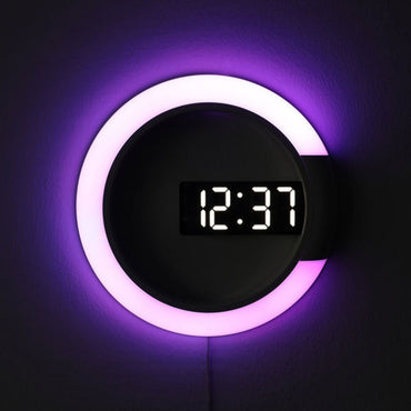 3D LED Digital Mirror Hollow Nightlight Wall Clock