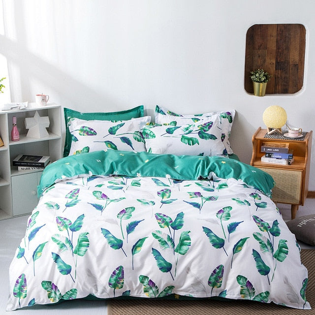 Geometric Plaid Simple Duvet Cover Flat Sheet Pillowcase Bedding Set