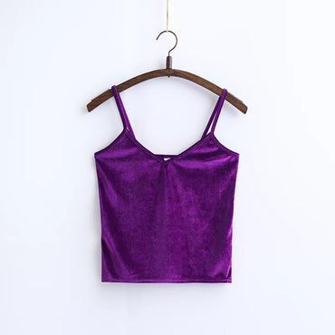 Slim Thin Sexy Velvet Women Short Tank Top