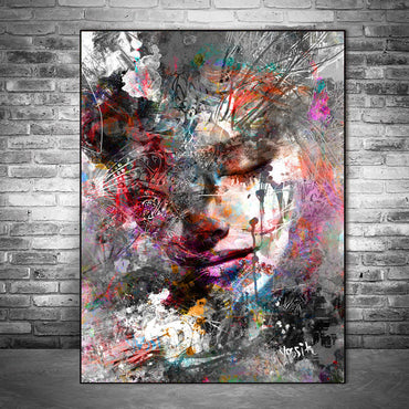 Abstract Girl Canvas Painting Graffiti Wall Art Home Decor