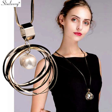 Multilayer Circle With Baroque Pearl Dangle Chain Statement Necklace