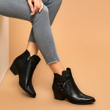 Hot Fashion Design Women Leather Ankle Zipper Boots