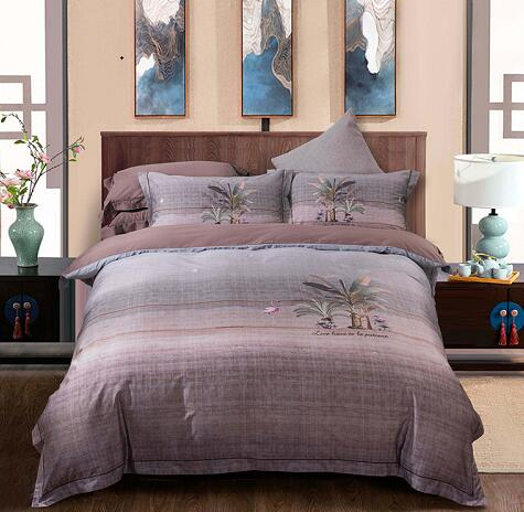 Egyptian Handmade Cotton Birds and Flowers Leaf Pattern Bedding Set