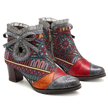 Women Bohemian Bowknot Lace Genuine Leather Ankle Boots