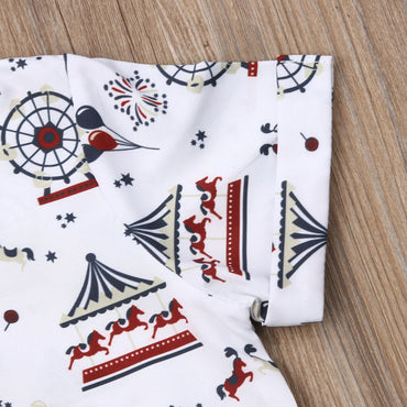Kids Boy Clothing Set Fashion Print Shirt and Cotton Shorts Boys Outfits