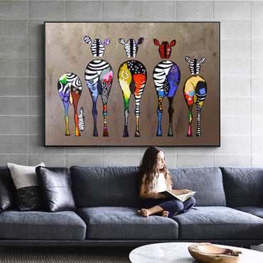 Colorful Abstract Zebra Canvas Painting Wall Art Pictures For Home Decor