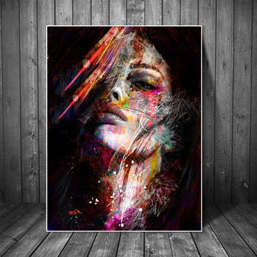 Abstract Graffiti Art Wall Painting On Canvas For Home Decor