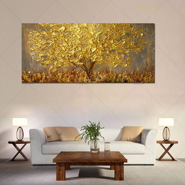 Famous Hand Painted Knife Gold Tree Oil Painting Wall Art Decoration