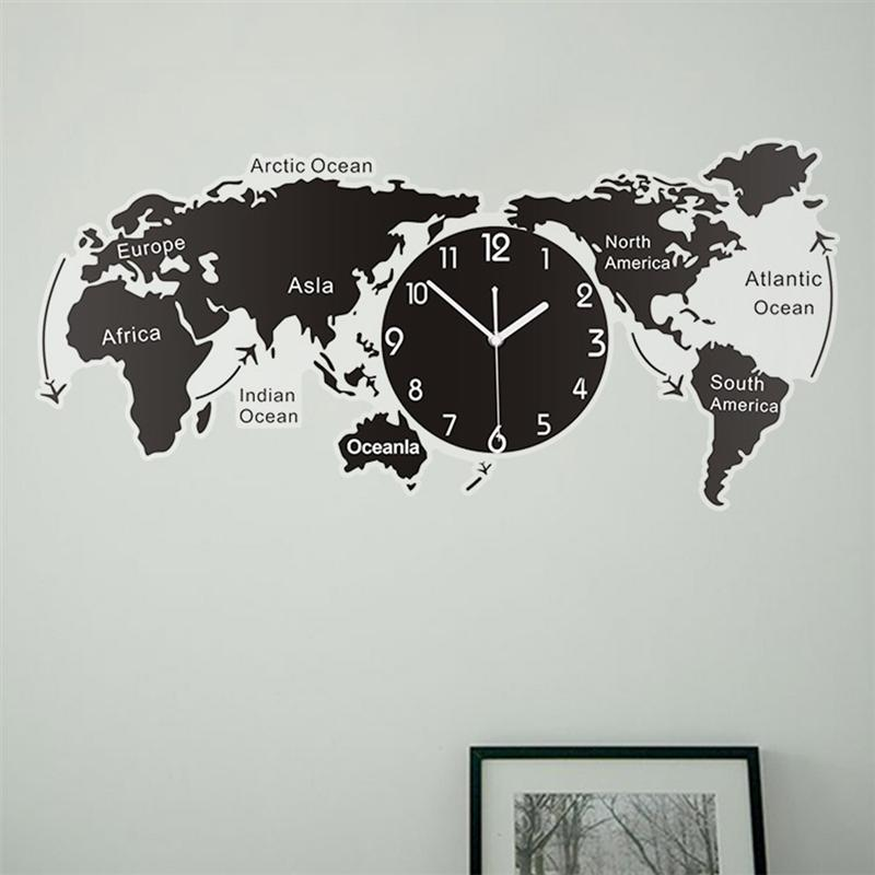 Unique World Map Wall Hanging Clock For Office Home Decoration