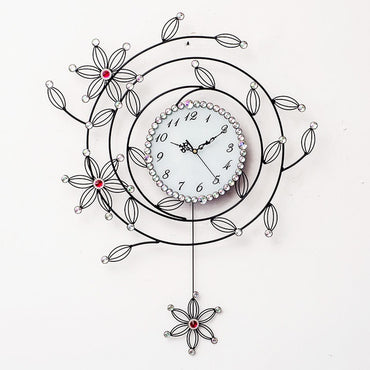Crystal Beautiful Mute Clock Simple Creative Swing Decorative Wall Clock