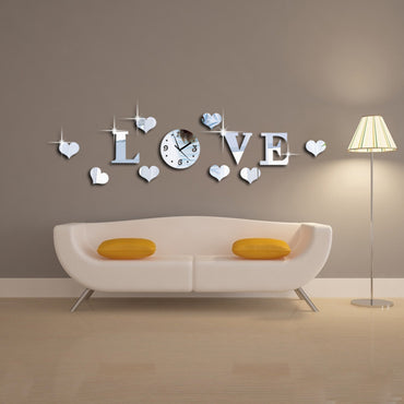3D DIY Mirror LOVE Letter Shape Decorative Wall Clock