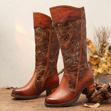 Women Painted Rose Embossed Genuine Leather Stitching Long Boots