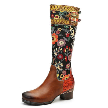 Women Genuine Retro Leather Stitching Zipper Mid Calf Flat Boots