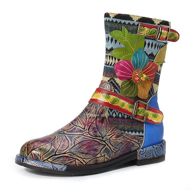 WomenFashion Flower Printed Retro Leather Mid-calf Boots