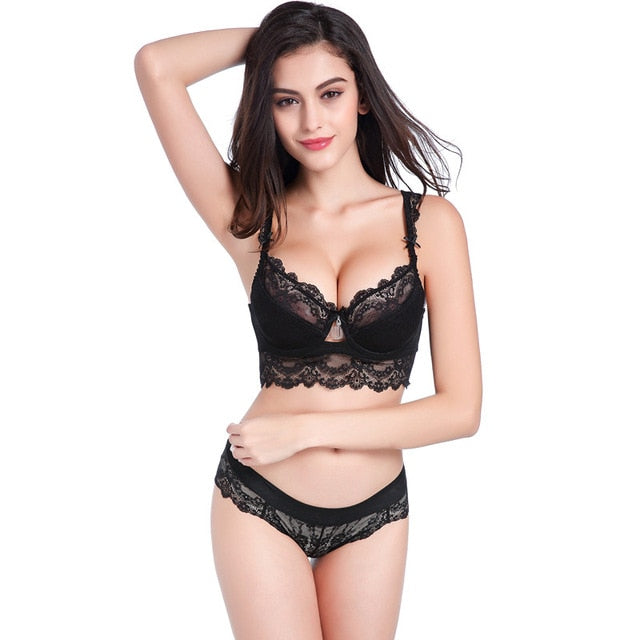 Sexy Lingerie Set Lace Padded Bra and Underwear