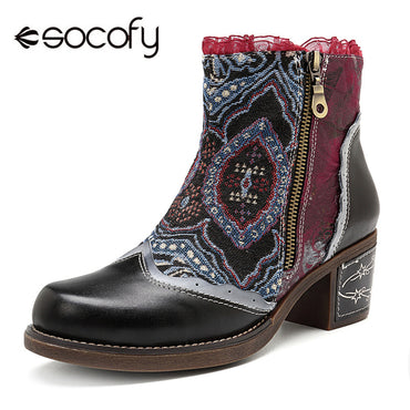 Canvas Patchwork Genuine Leather Women Vintage Ankle Boots