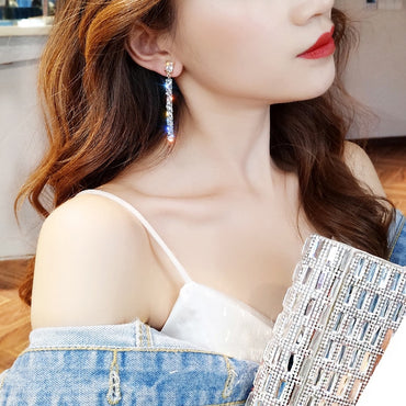 Crystal Classic Geometric Long Dangle Earrings For Women