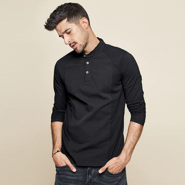 Men Cotton Button Plain Long Sleeve T-Shirt