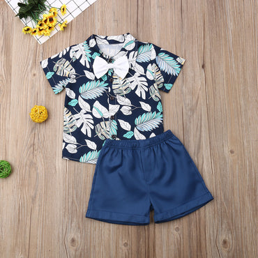 Kids Boy Outfit Set Leaf Print Shirt and Cotton Shorts Baby Boy Clothes
