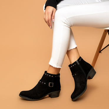 Fashion Design Women Leather Zipper Ankle Boots