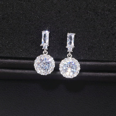 Women Classic Luxury Round Cubic Zircon Drop Earrings
