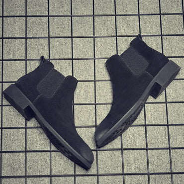 Men Fashion Slip On Cow Leather Ankle Boots
