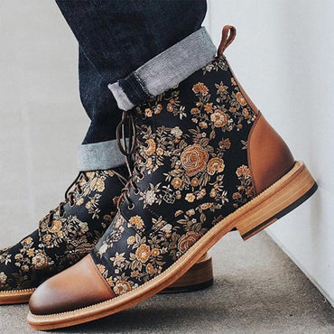 Elegant Design Men Luxury Vintage Flower Stitched Boots