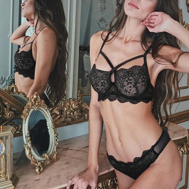 Sexy Lace Transparent Thin Mesh Lingerie Set